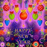 Färgrik design av hälsningen för lyckligt nytt år Royaltyfri Bild