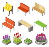 Färgrik design av ordnade isometriska symboler med bänkar och blomsterrabatter för stadsdesign som isoleras på vit royaltyfri illustrationer