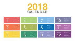 Färgrik design för mall 2018 för design för vektor för år för kalender enkel och ren, Royaltyfri Illustrationer