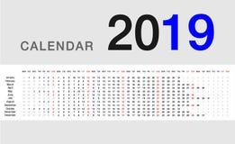 Färgrik design 2019 för vektor för kalenderår template8 Arkivbilder