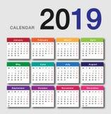 Färgrik design 2019 för vektor för kalenderår template8 Royaltyfri Fotografi