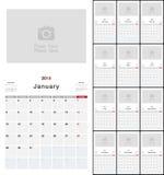Färgrik design 2019 för vektor för kalenderår template88 Fotografering för Bildbyråer