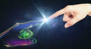 Färgrik digital hand och mänskligt peka Arkivbilder