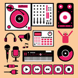 Färgrik dj-musikuppsättning. royaltyfri illustrationer