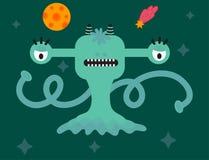 Färgrik djur vektor för rolig för teckenvarelse för tecknad film gigantisk gullig främmande lycklig jäkel för illustration Arkivbild