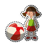 Färgrik docka för klistermärke med bollleksaken royaltyfri illustrationer