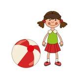 Färgrik docka med bollleksaken royaltyfri illustrationer