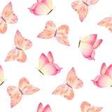 Färgrik dragen fjärilshand för vattenfärg vektor illustrationer