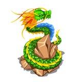 Färgrik drake som slås in runt om en hög av stenar som isoleras på vit bakgrund Illustration för vektortecknad filmnärbild royaltyfri illustrationer