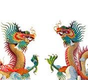 färgrik drakestaty två Arkivbilder