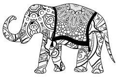Färgrik elefantfärgläggning för barn och vuxna människor arkivfoto