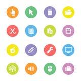 Färgrik enkel plan symbolsuppsättning 3 på cirkel Royaltyfri Bild