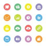 Färgrik enkel plan symbolsuppsättning 4 på cirkel Fotografering för Bildbyråer