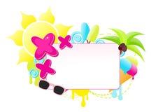 Färgrik etikett för sommarferie Arkivfoto