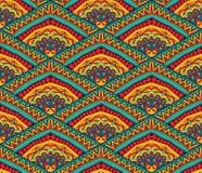Färgrik etnisk sömlös modell vektor illustrationer