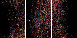 Färgrik explosion av konfettier Kulör kornig texturvektor Royaltyfria Bilder