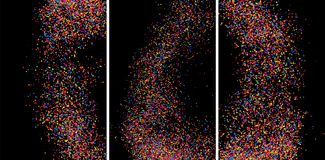 Färgrik explosion av konfettier Kulör kornig texturvektor Royaltyfria Foton