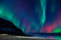 Färgrik explosion för nordliga ljus i Island Royaltyfria Bilder