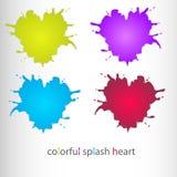 Färgrik färgstänkhjärtasymbol, uppsättning Royaltyfri Bild