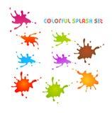 Färgrik färgstänkuppsättning Fotografering för Bildbyråer