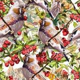 färgrik fågel, blomma och rönn Fotografering för Bildbyråer