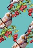färgrik fågel, blomma och rönn Royaltyfri Bild