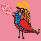 Färgrik fågel med banret för solhavssommar Arkivbild