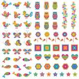 Färgrik fågel och fjäril stock illustrationer