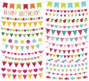 Färgrik födelsedag- och partigarnering Arkivfoto