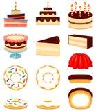 Färgrik för efterrättsymbol för tecknad film 12 uppsättning vektor illustrationer