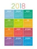 Färgrik för kalendervektor för år 2018 mall Royaltyfria Bilder