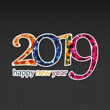 Färgrik för kort-, räknings- eller bakgrundsdesign för lyckligt nytt år mall - 2019 royaltyfri illustrationer