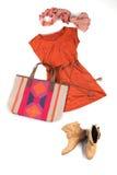 Färgrik förlagd kläder Arkivfoto