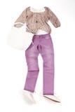 Färgrik förlagd kvinnakläder Arkivfoto