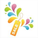 färgrik försäljningsetikett för bakgrund Royaltyfria Foton