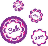 Färgrik försäljningsetikettsdesign Arkivfoton