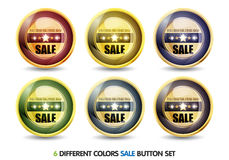 färgrik försäljningsset för knapp Royaltyfri Bild