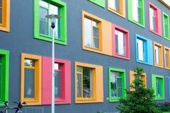 Färgrik fasad av byggnad Arkivbild