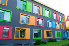Färgrik fasad av byggnad Arkivbilder