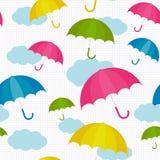Färgrik fastställd modell för paraply med moln stock illustrationer