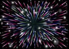Färgrik ferieexponering, kosmisk explosion, fyrverkerier arkivbild