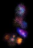 färgrik fireworksalphabet J - det härliga färgrika fyrverkerit är Fotografering för Bildbyråer