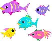 färgrik fiskgrupp royaltyfri illustrationer