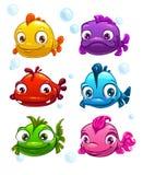 Färgrik fiskuppsättning för rolig tecknad film Royaltyfria Bilder