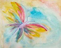 Färgrik fjäril i en lockig himmel royaltyfri bild