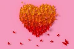 Färgrik fjärilspappersstil är hjärtaform, tolkningen 3d, med den snabba banan stock illustrationer