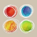 Färgrik fläck för vattenfärg med vita linjer Royaltyfri Fotografi