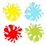 Färgrik fläckfärgstänkuppsättning. Inkblot. Plan design. stock illustrationer