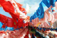 färgrik flaggabön tibet Arkivfoto