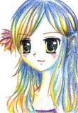 Färgrik flicka för tecknad film för animemangakawaii med blomman i hår Arkivbild